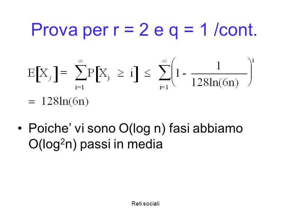Prova per r = 2 e q = 1 /cont. Poiche' vi sono O(log n) fasi abbiamo O(log2n) passi in media.