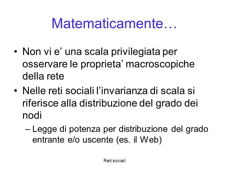 Matematicamente…Non vi e' una scala privilegiata per osservare le proprieta' macroscopiche della rete.