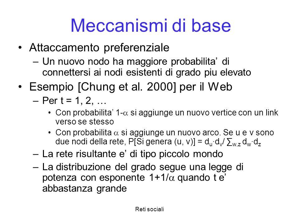 Meccanismi di base Attaccamento preferenziale
