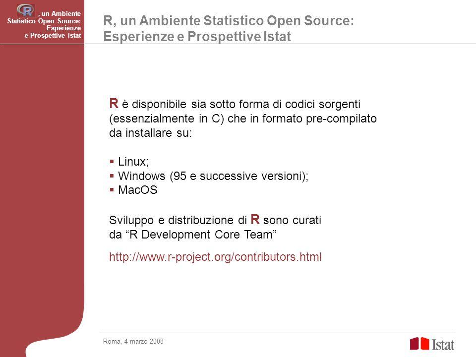 R, un Ambiente Statistico Open Source: Esperienze e Prospettive Istat