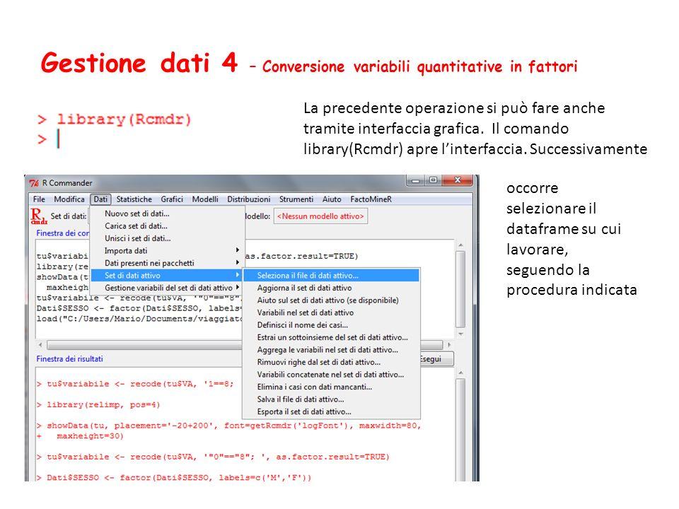 Gestione dati 4 – Conversione variabili quantitative in fattori