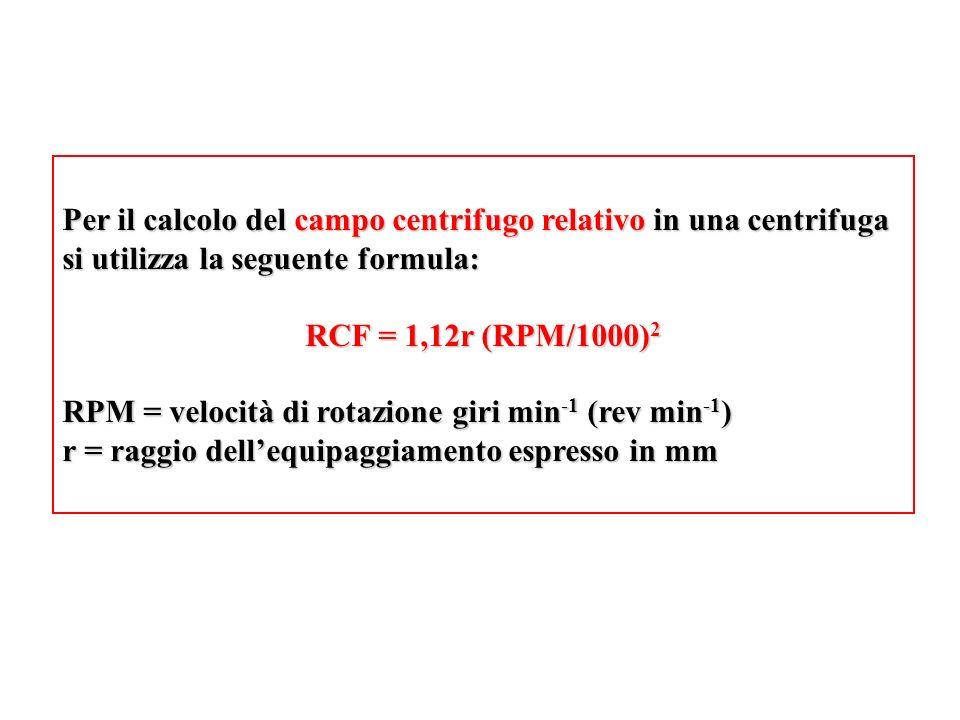 Per il calcolo del campo centrifugo relativo in una centrifuga si utilizza la seguente formula:
