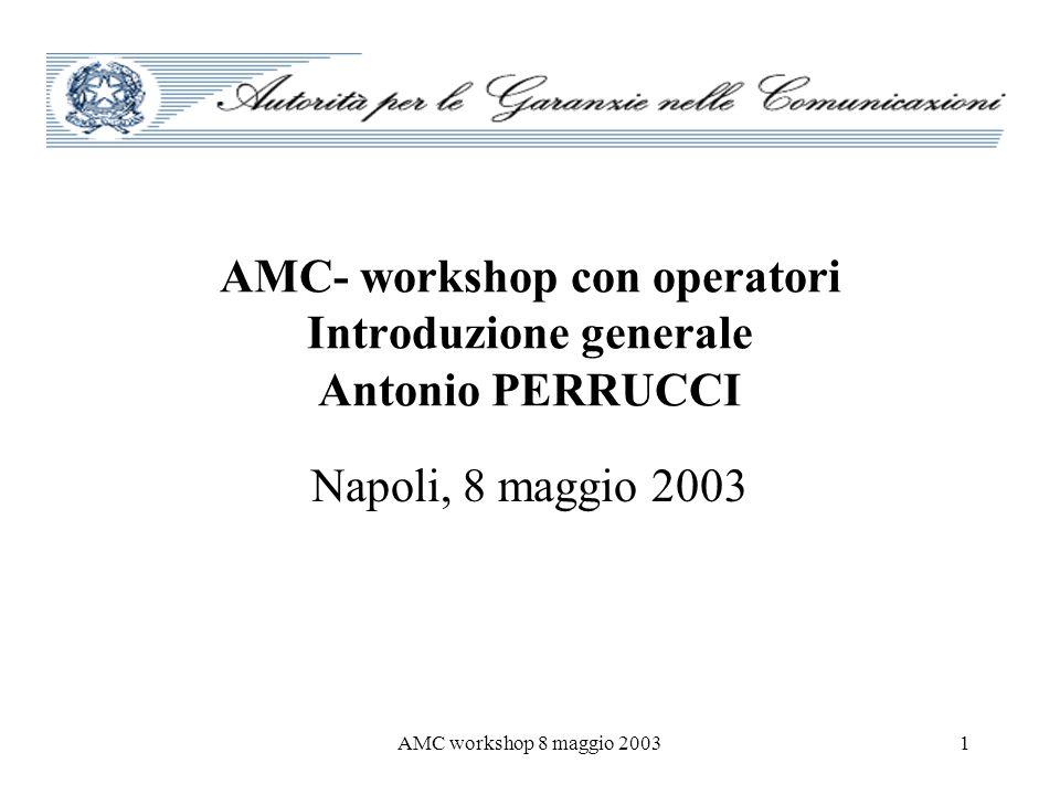 AMC- workshop con operatori Introduzione generale Antonio PERRUCCI