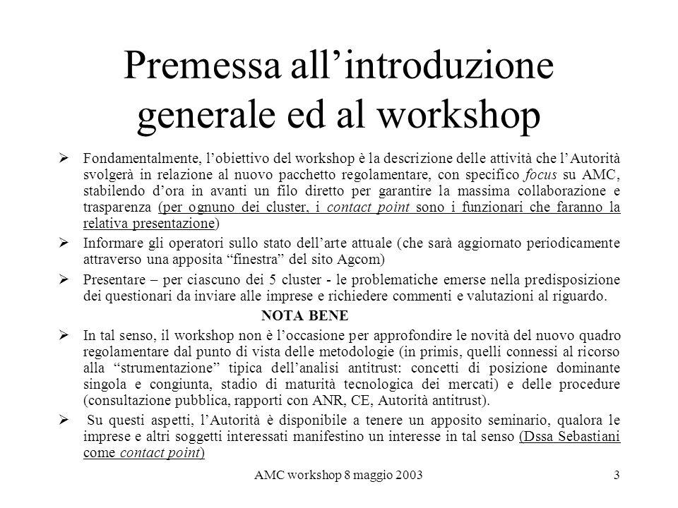 Premessa all'introduzione generale ed al workshop