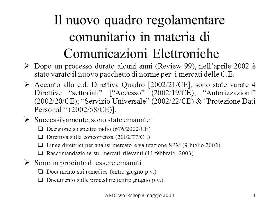 Il nuovo quadro regolamentare comunitario in materia di Comunicazioni Elettroniche