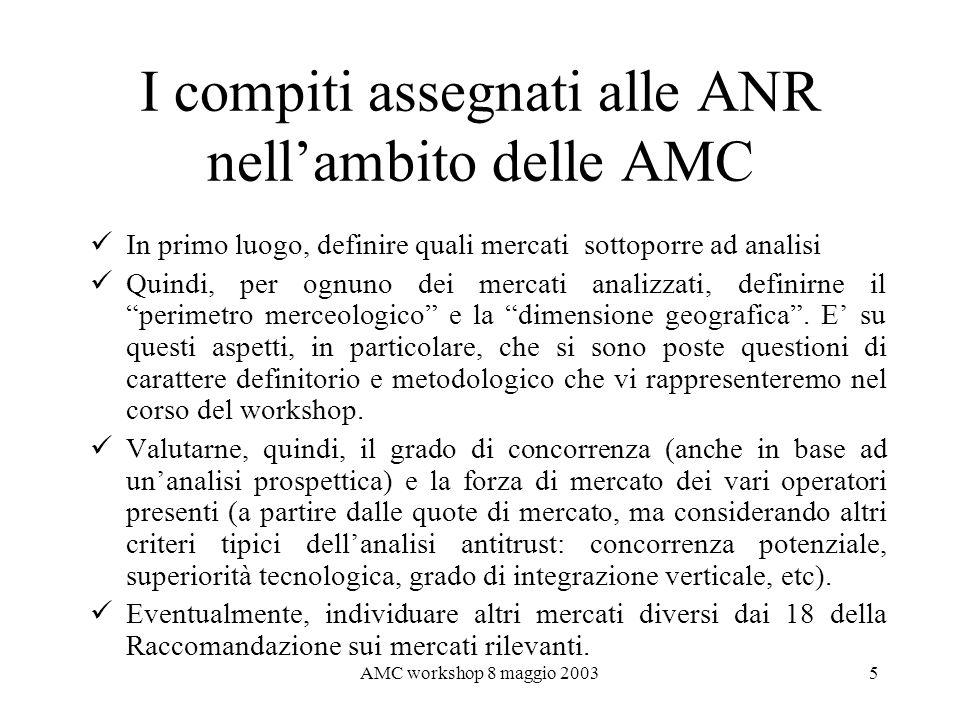 I compiti assegnati alle ANR nell'ambito delle AMC