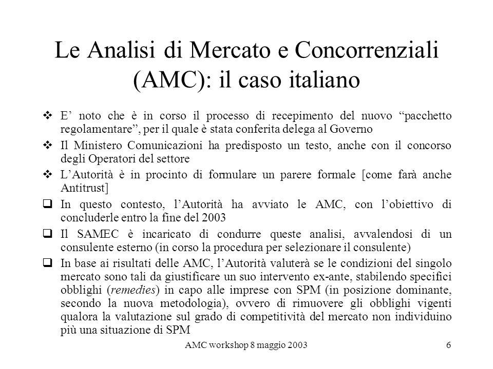 Le Analisi di Mercato e Concorrenziali (AMC): il caso italiano