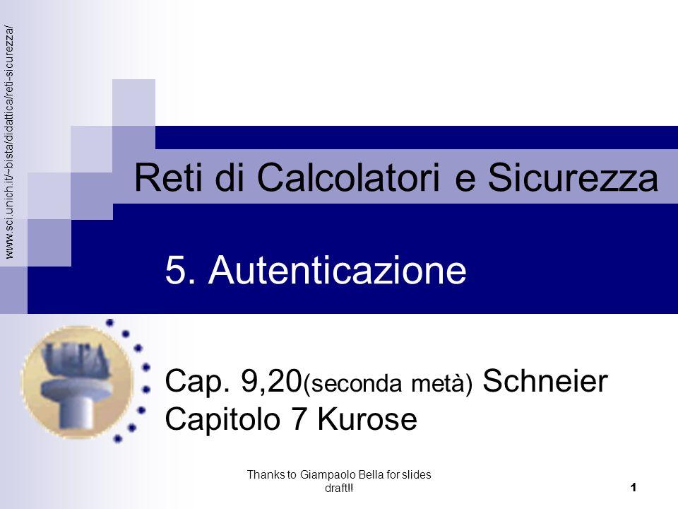 Cap. 9,20(seconda metà) Schneier Capitolo 7 Kurose