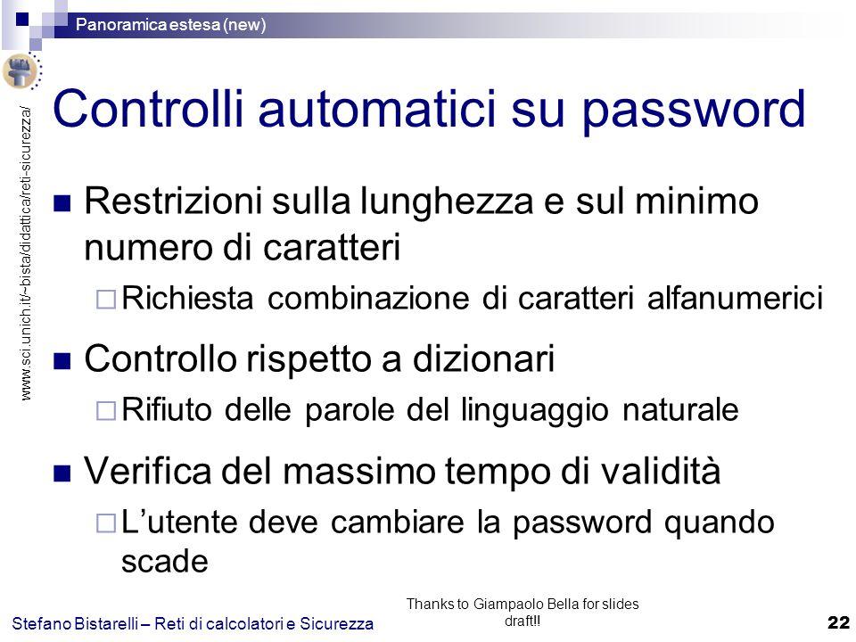 Controlli automatici su password