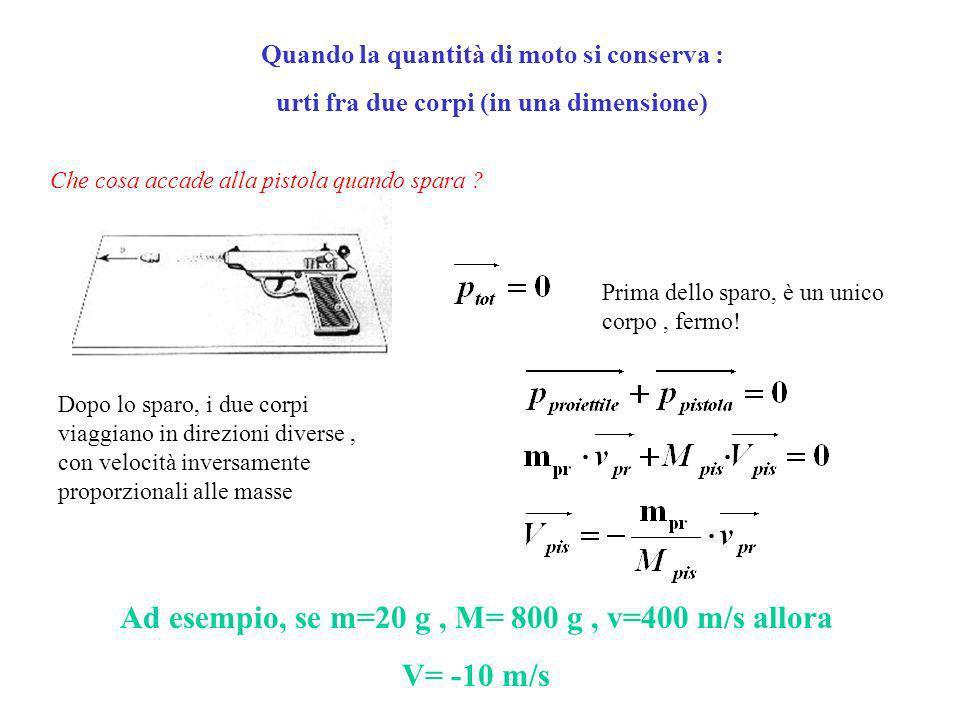 Ad esempio, se m=20 g , M= 800 g , v=400 m/s allora V= -10 m/s