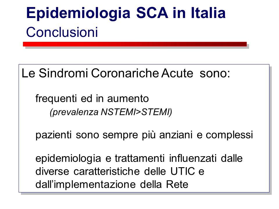 Epidemiologia SCA in Italia