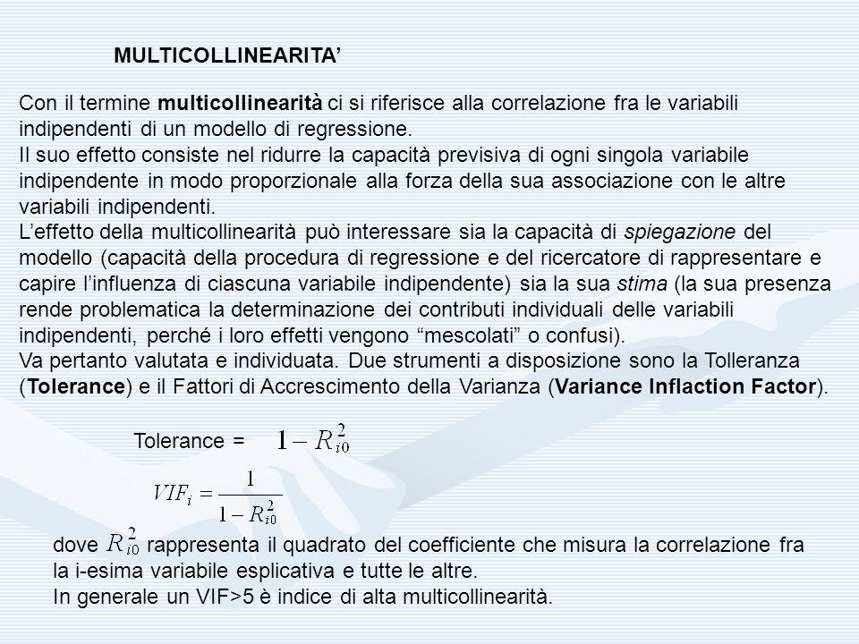 MULTICOLLINEARITA' Con il termine multicollinearità ci si riferisce alla correlazione fra le variabili indipendenti di un modello di regressione.