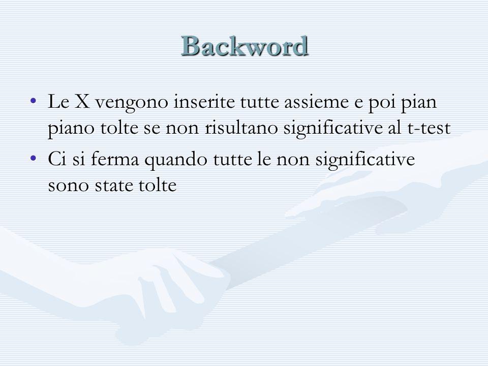 Backword Le X vengono inserite tutte assieme e poi pian piano tolte se non risultano significative al t-test.