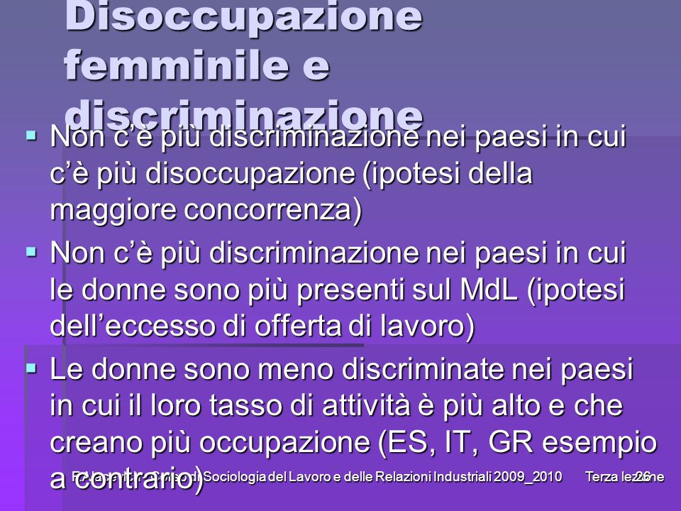 Disoccupazione femminile e discriminazione
