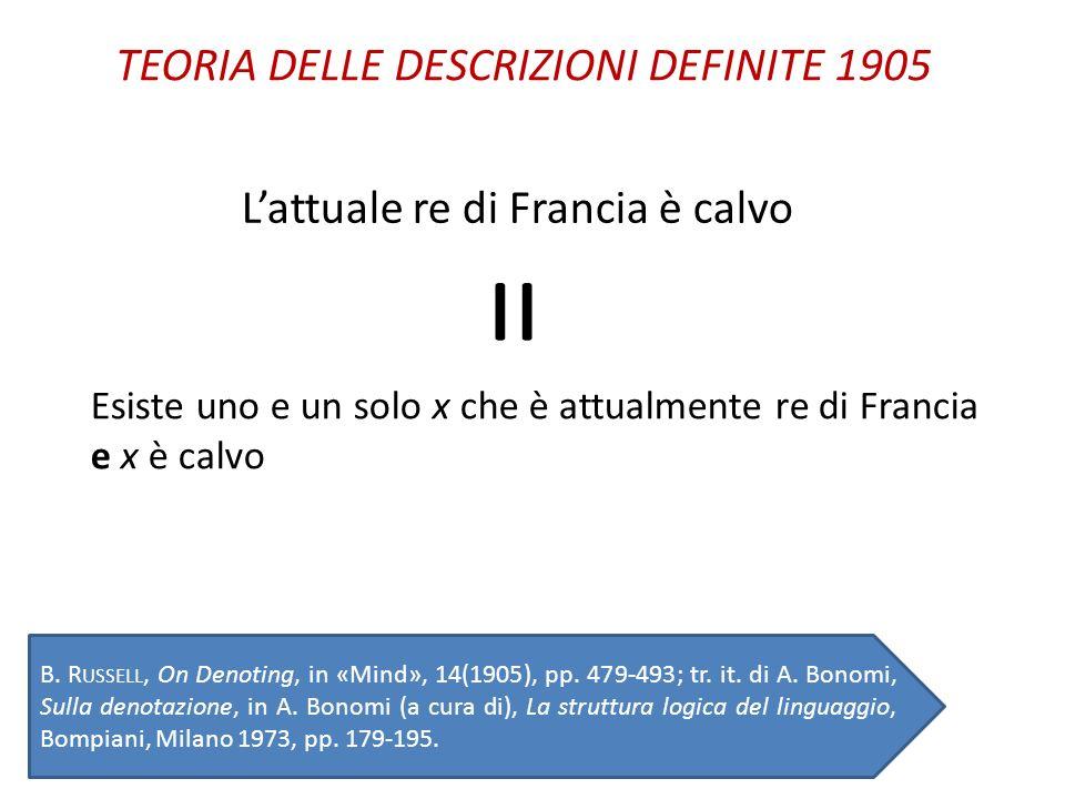 = TEORIA DELLE DESCRIZIONI DEFINITE 1905