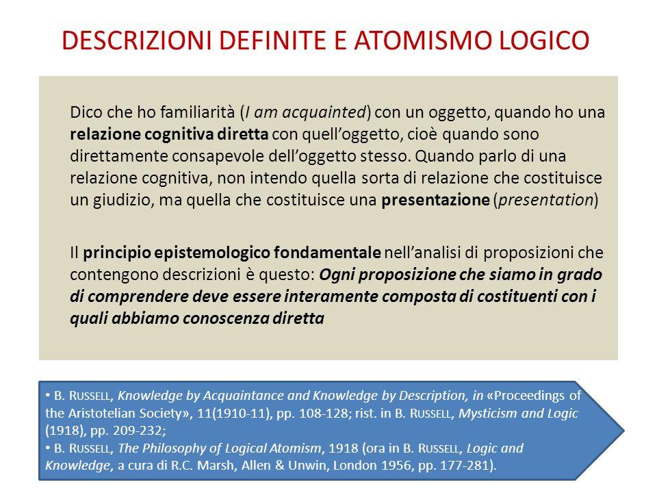 DESCRIZIONI DEFINITE E ATOMISMO LOGICO