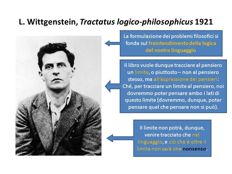 L. Wittgenstein, Tractatus logico-philosophicus 1921
