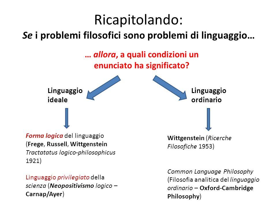 Ricapitolando: Se i problemi filosofici sono problemi di linguaggio…