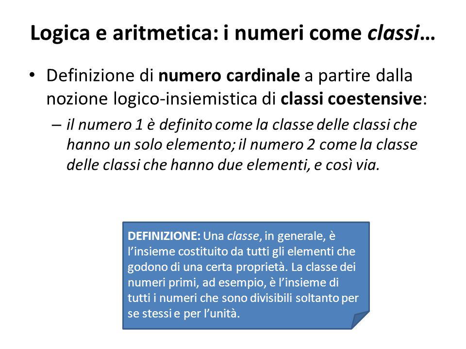 Logica e aritmetica: i numeri come classi…