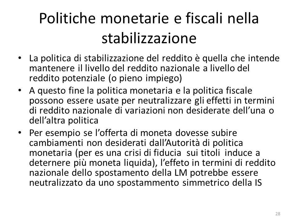Politiche monetarie e fiscali nella stabilizzazione