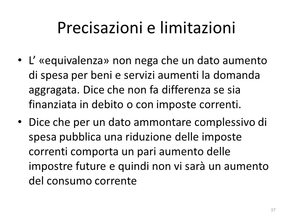 Precisazioni e limitazioni