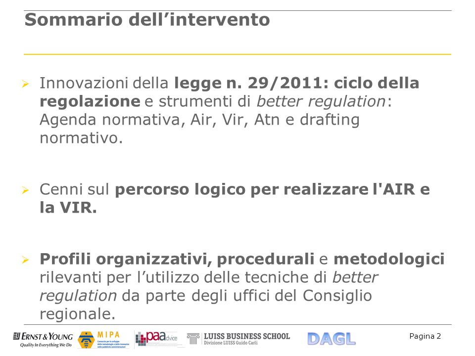 Sommario dell'intervento