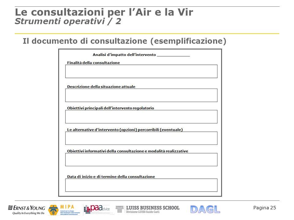 Le consultazioni per l'Air e la Vir Strumenti operativi / 2
