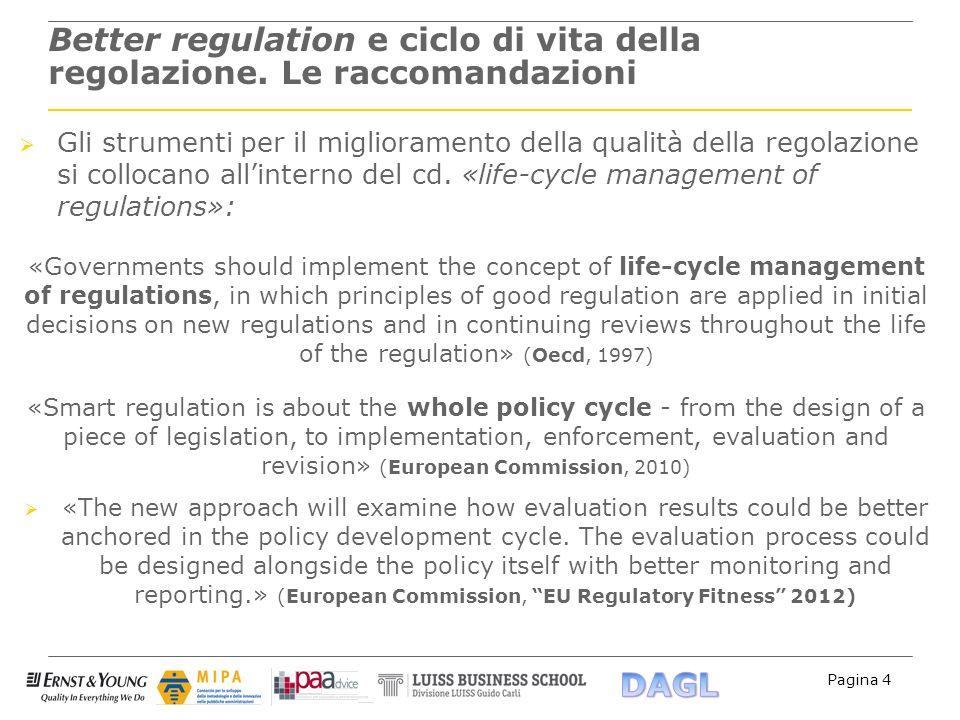Better regulation e ciclo di vita della regolazione. Le raccomandazioni