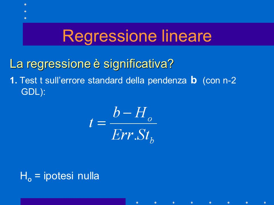 Regressione lineare La regressione è significativa Ho = ipotesi nulla