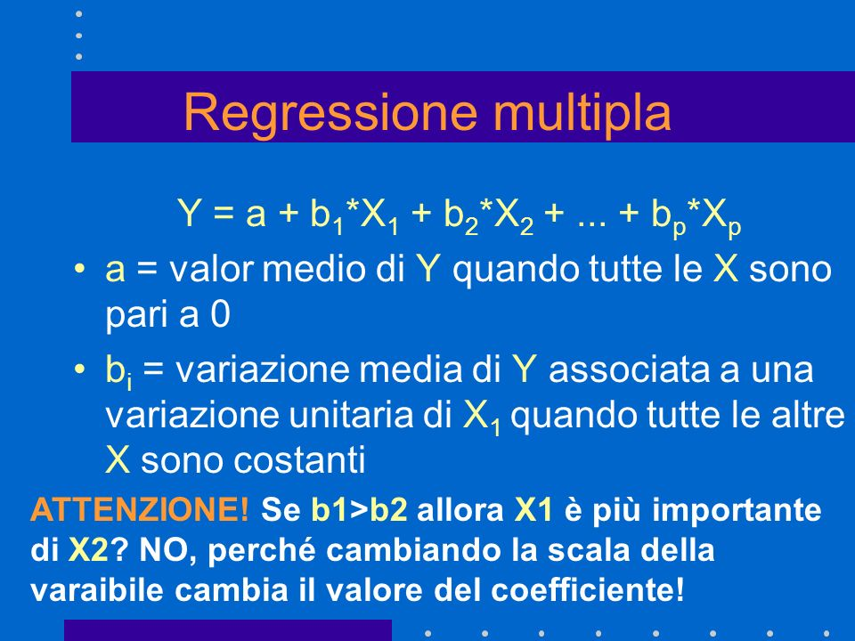 Regressione multipla Y = a + b1*X1 + b2*X2 + ... + bp*Xp