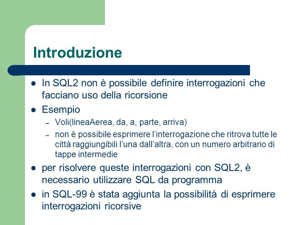 Introduzione In SQL2 non è possibile definire interrogazioni che facciano uso della ricorsione. Esempio.