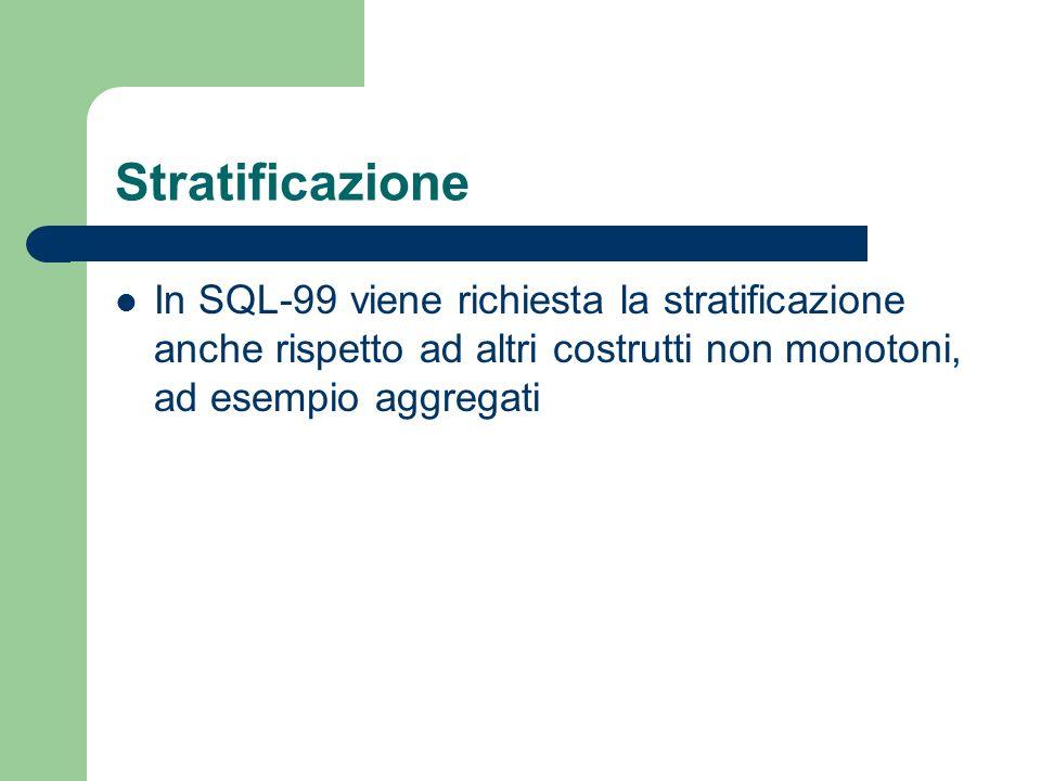 Stratificazione In SQL-99 viene richiesta la stratificazione anche rispetto ad altri costrutti non monotoni, ad esempio aggregati.