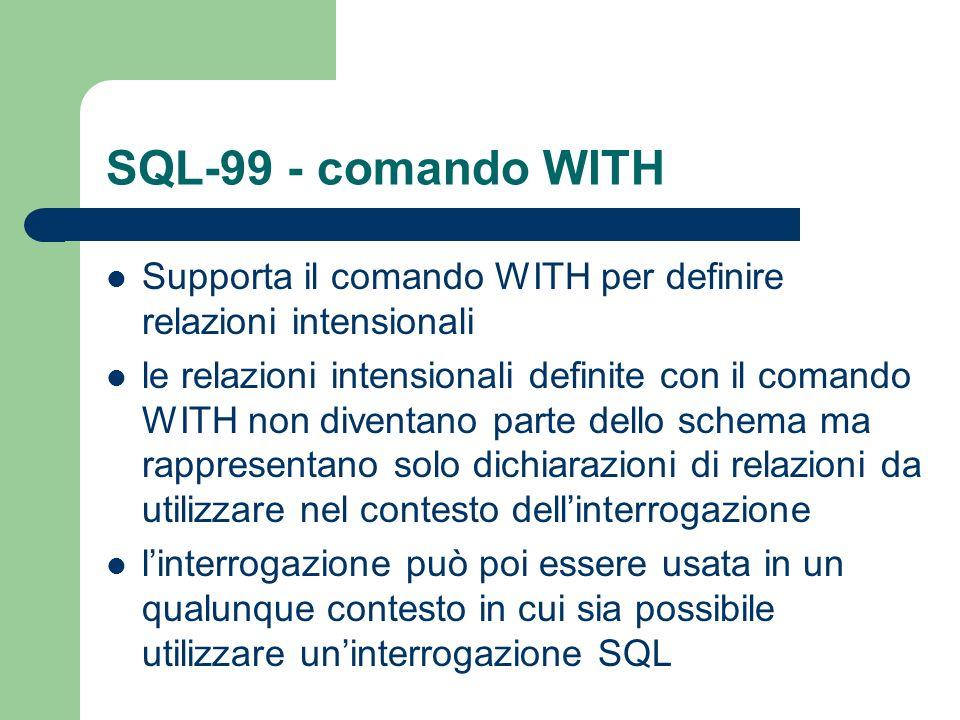 SQL-99 - comando WITH Supporta il comando WITH per definire relazioni intensionali.