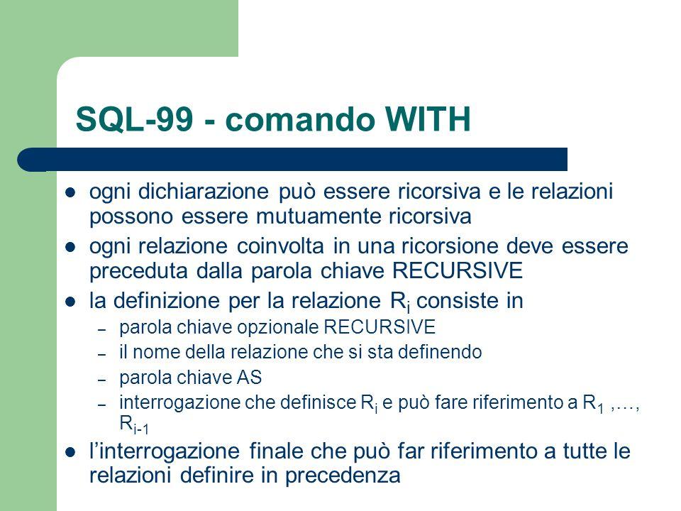 SQL-99 - comando WITH ogni dichiarazione può essere ricorsiva e le relazioni possono essere mutuamente ricorsiva.