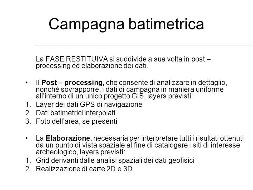 Campagna batimetrica La FASE RESTITUIVA si suddivide a sua volta in post – processing ed elaborazione dei dati.