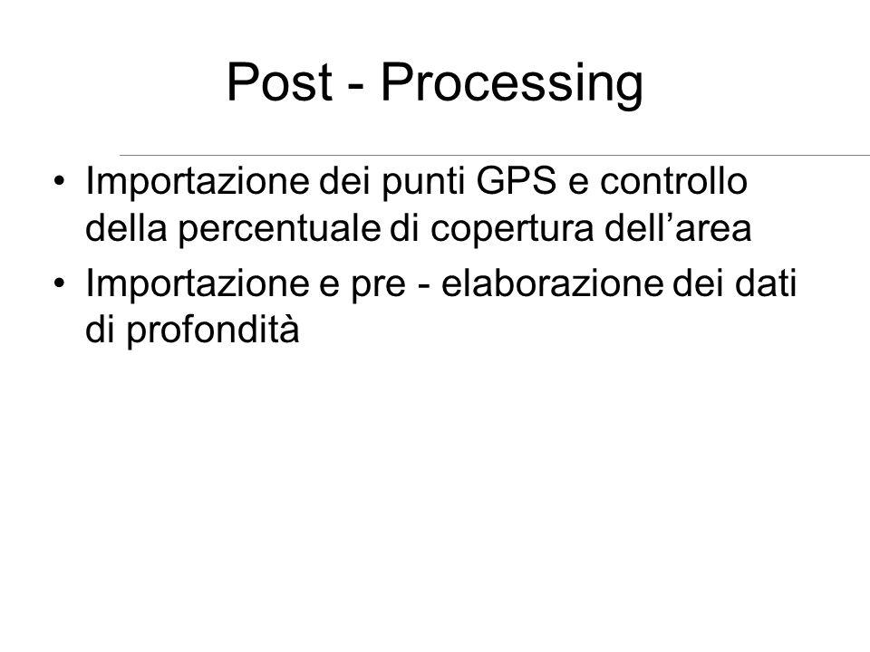 Post - Processing Importazione dei punti GPS e controllo della percentuale di copertura dell'area.
