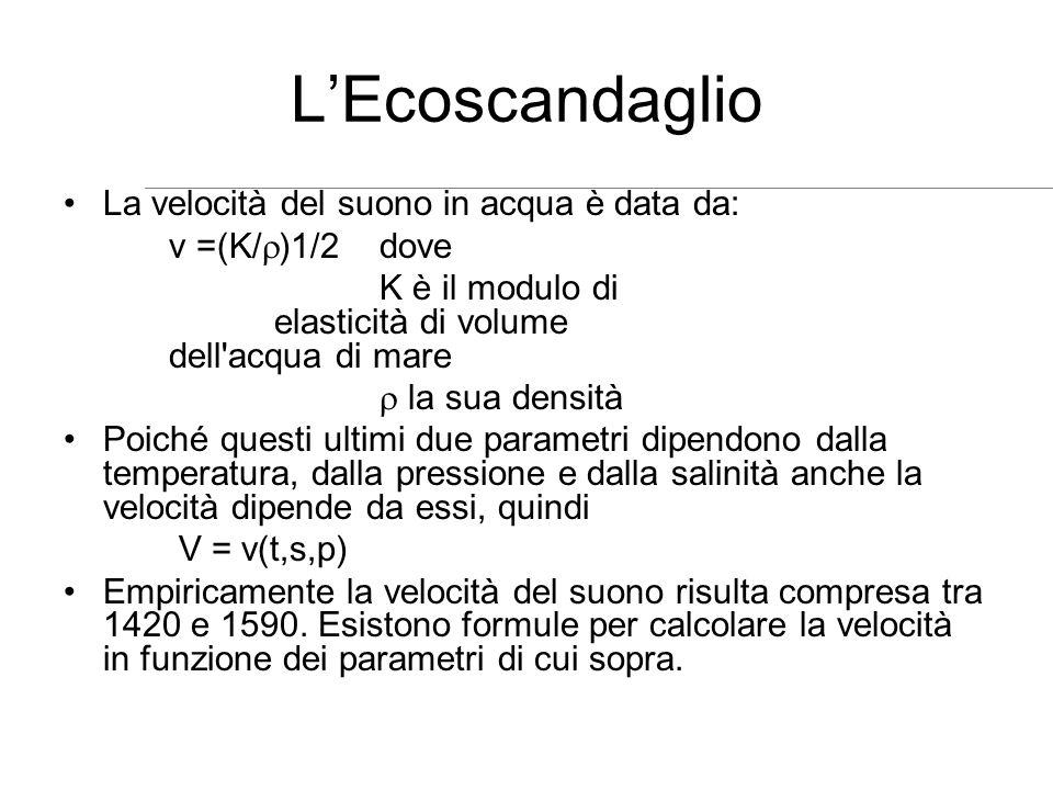 L'Ecoscandaglio La velocità del suono in acqua è data da: