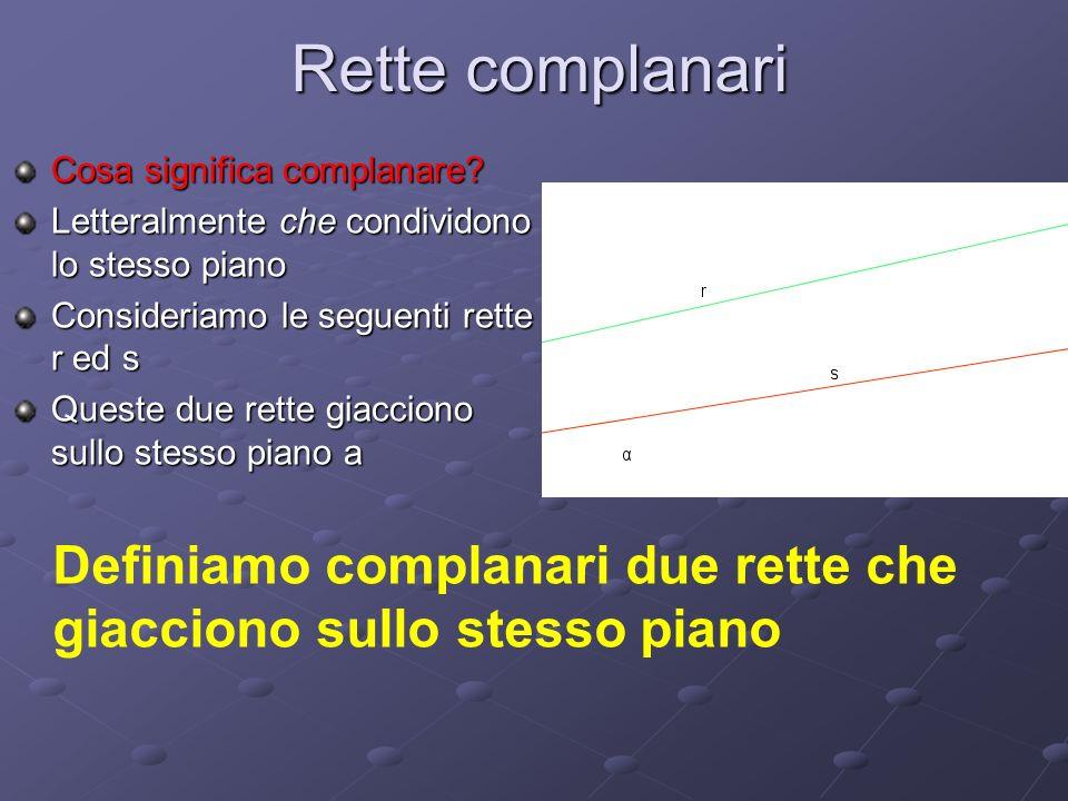 Rette complanari Cosa significa complanare Letteralmente che condividono lo stesso piano. Consideriamo le seguenti rette r ed s.