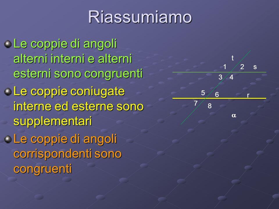 RiassumiamoLe coppie di angoli alterni interni e alterni esterni sono congruenti. Le coppie coniugate interne ed esterne sono supplementari.