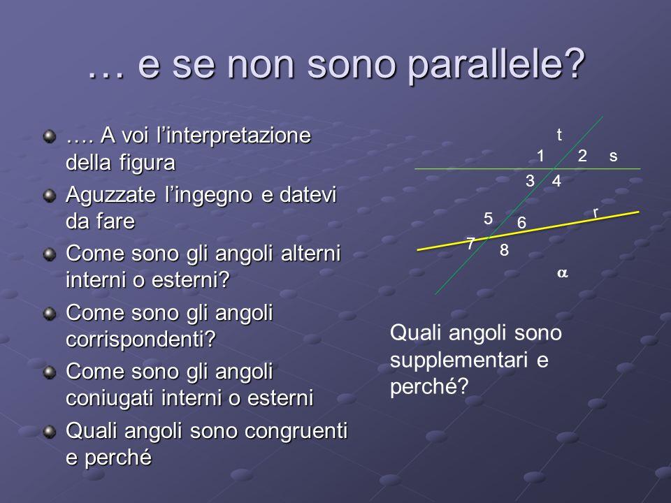 … e se non sono parallele