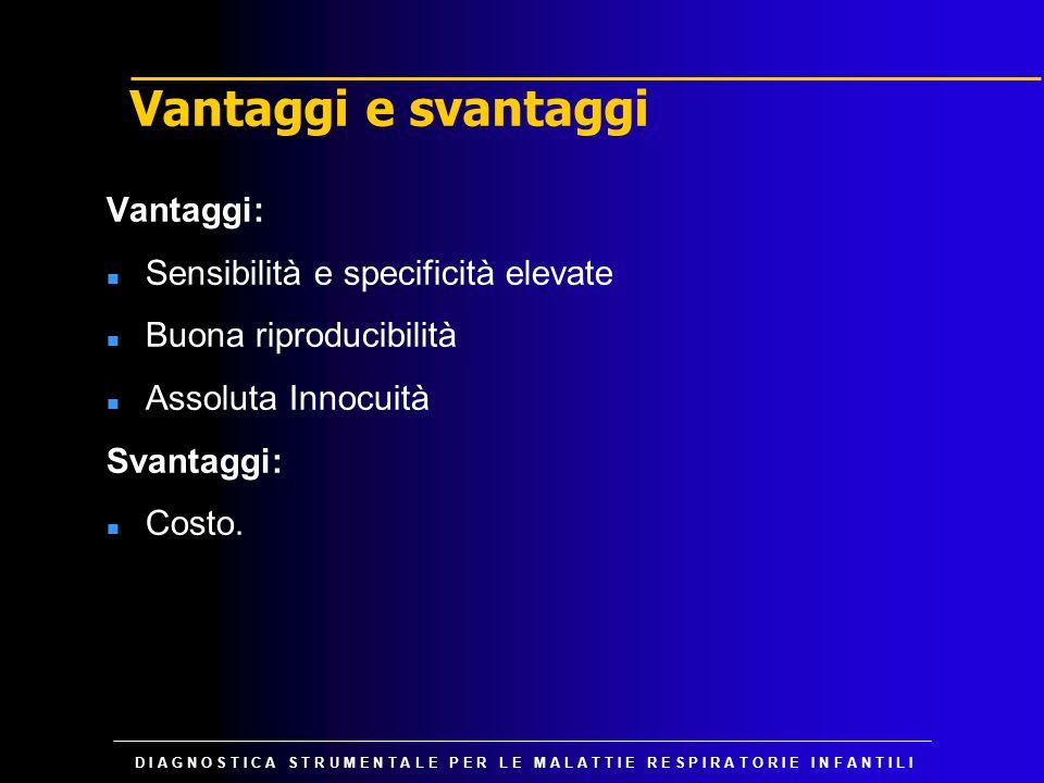 Vantaggi e svantaggi Vantaggi: Sensibilità e specificità elevate