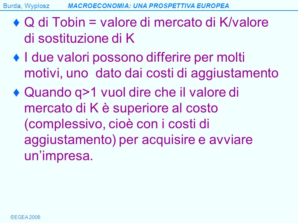 Q di Tobin = valore di mercato di K/valore di sostituzione di K