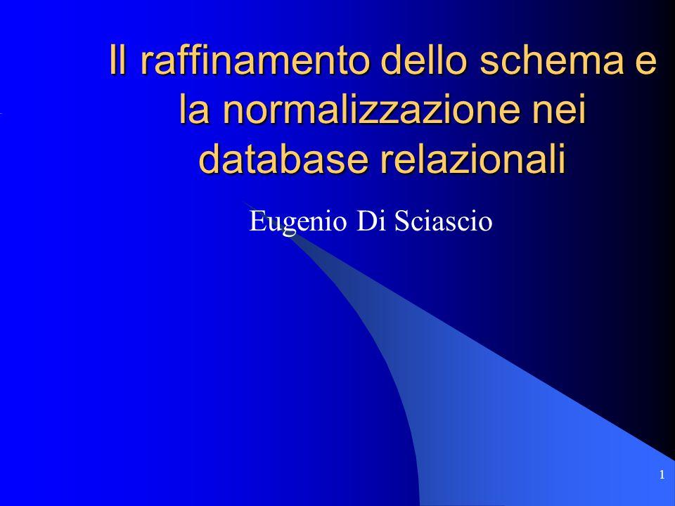 Il raffinamento dello schema e la normalizzazione nei database relazionali