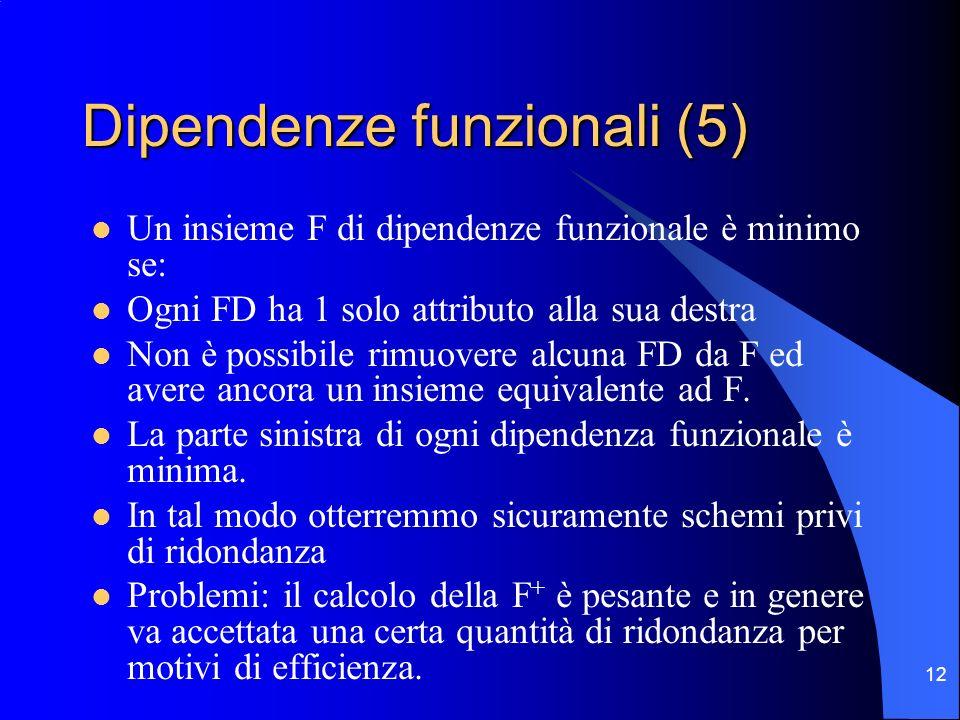 Dipendenze funzionali (5)