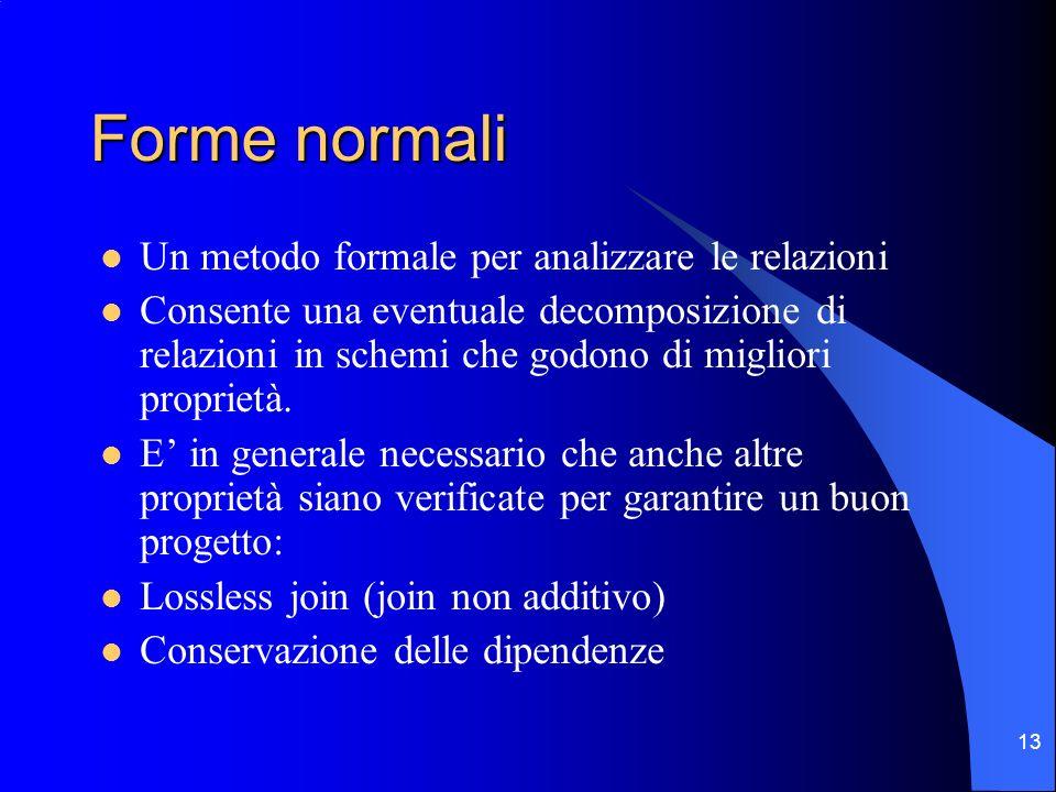 Forme normali Un metodo formale per analizzare le relazioni
