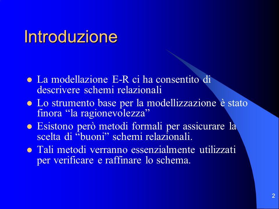 Introduzione La modellazione E-R ci ha consentito di descrivere schemi relazionali.