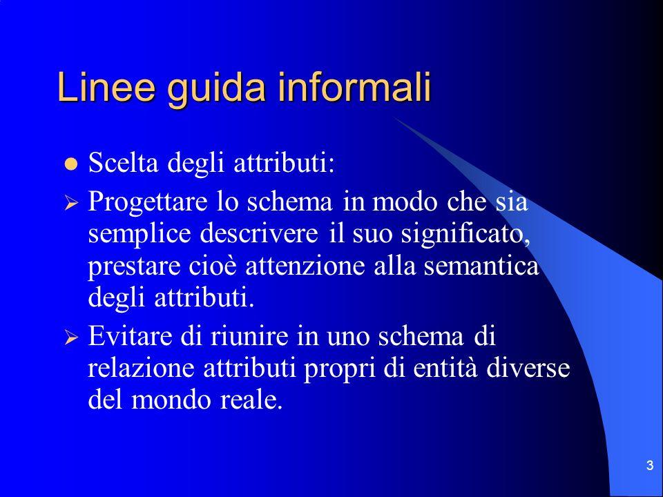 Linee guida informali Scelta degli attributi: