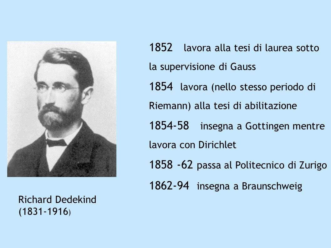 1852 lavora alla tesi di laurea sotto la supervisione di Gauss