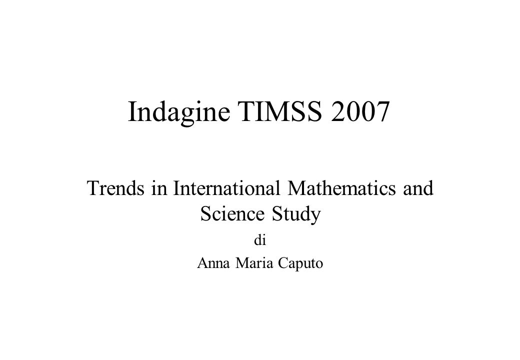 Trends in International Mathematics and Science Study