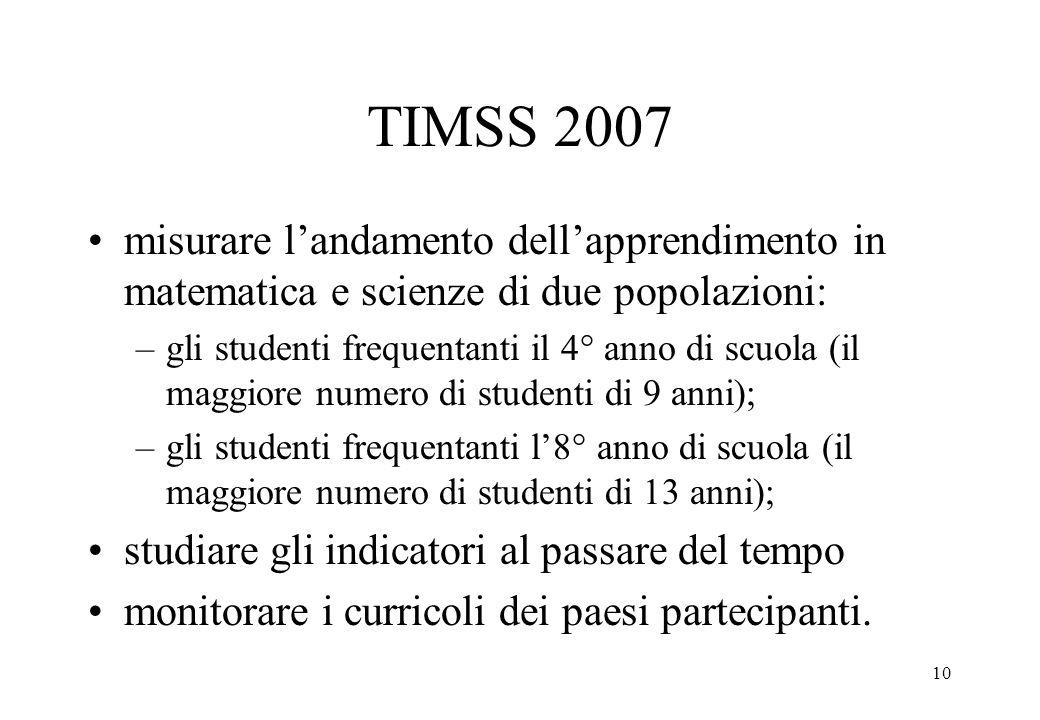 TIMSS 2007 misurare l'andamento dell'apprendimento in matematica e scienze di due popolazioni: